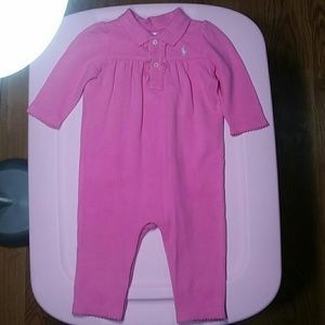 Ralph Lauren Pink Long Sleeve Polo Romper